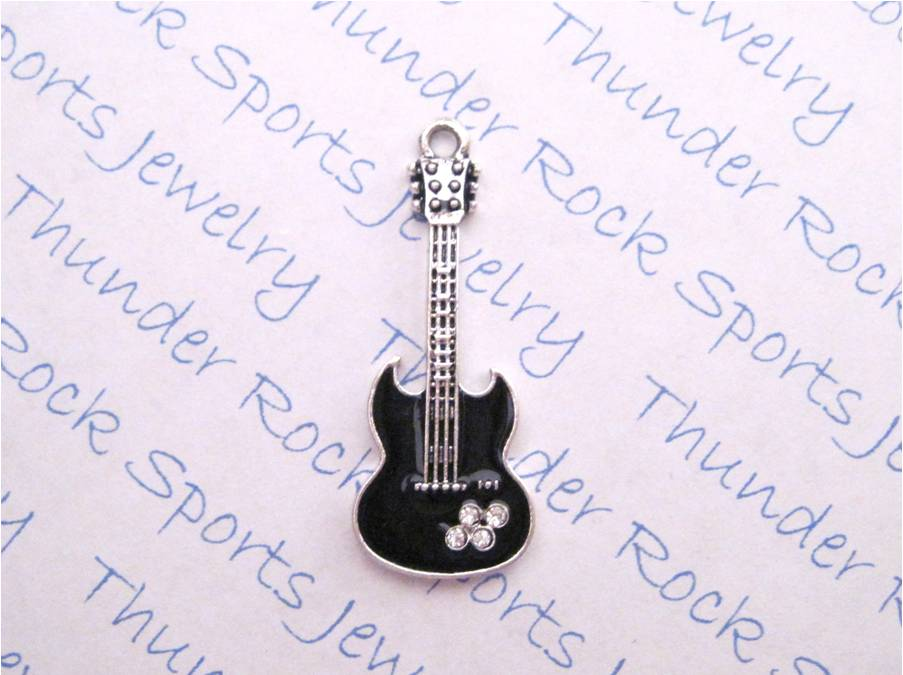 3 Guitar Charms Black Crystal Silver Pendants