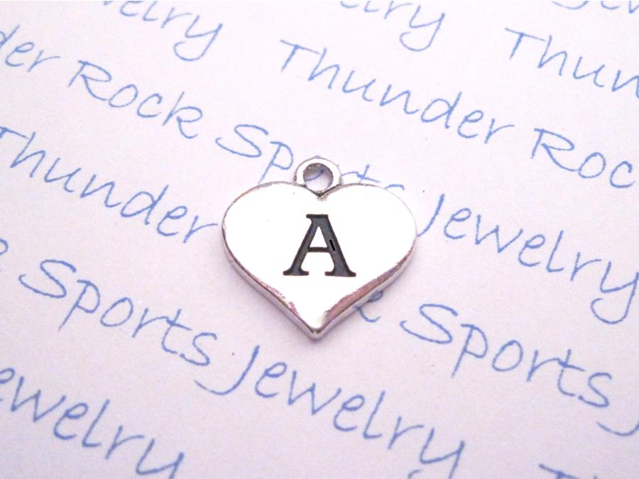 Initial A Alphabet Silver Heart Charm Pendant