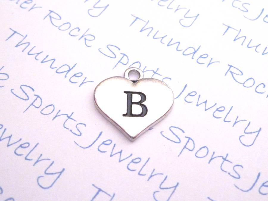 Initial B Alphabet Silver Heart Charm Pendant