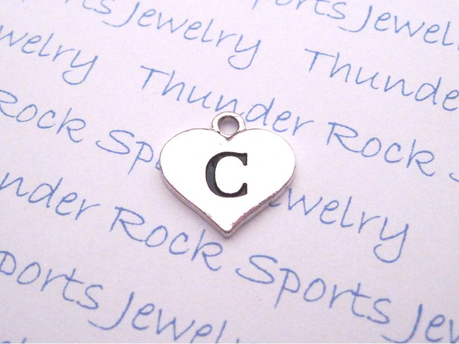 3 Letter C Alphabet Silver Initial Heart Charms