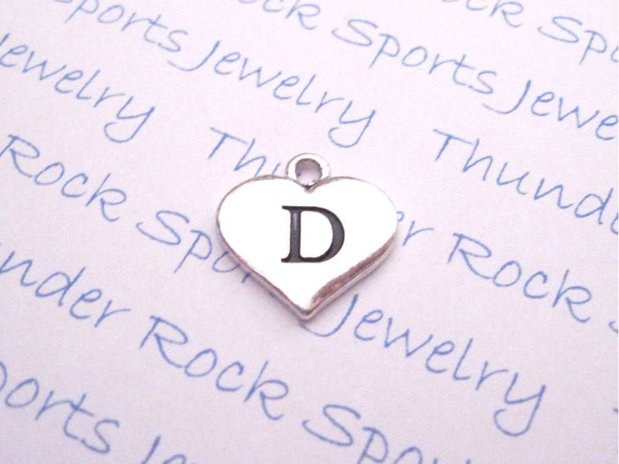 3 Letter D Alphabet Silver Initial Heart Charms
