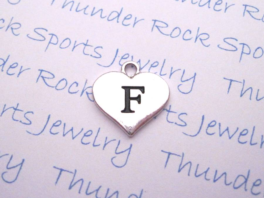 3 Letter F Alphabet Silver Initial Heart Charms