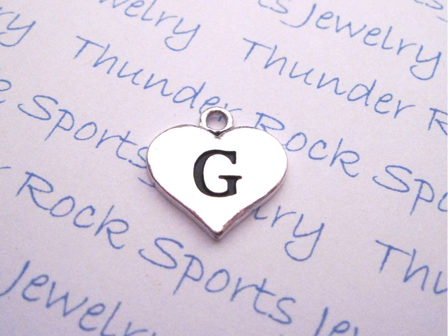 Initial G Alphabet Silver Heart Charm Pendant