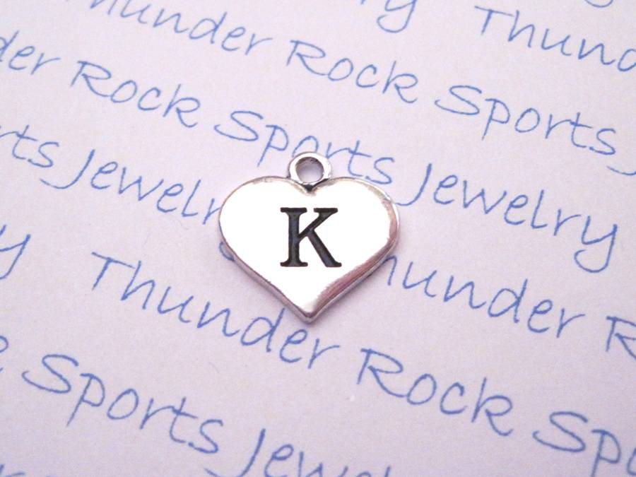 3 Initial K Alphabet Silver Heart Charms Pendants
