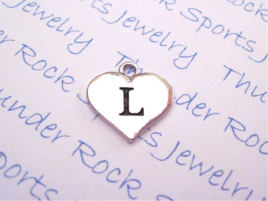 3 Letter L Alphabet Silver Initial Heart Charms