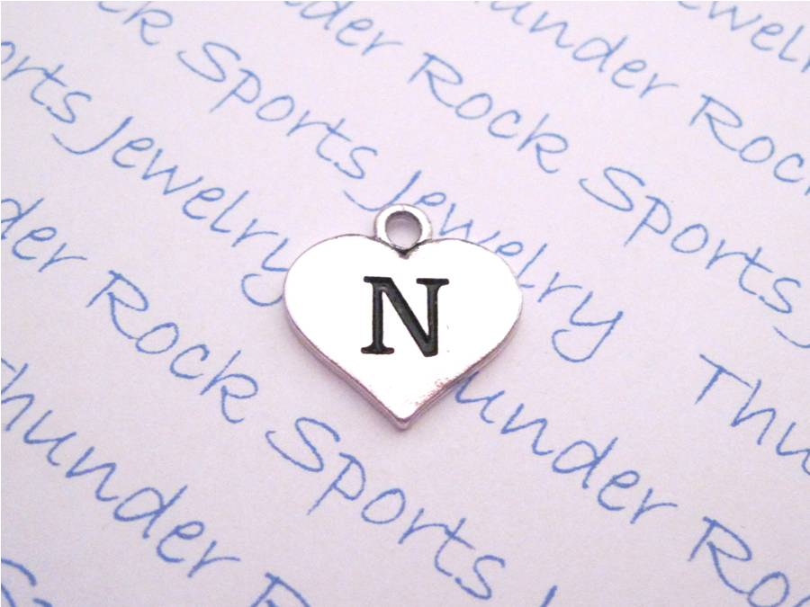 Initial N Alphabet Silver Heart Charm Pendant