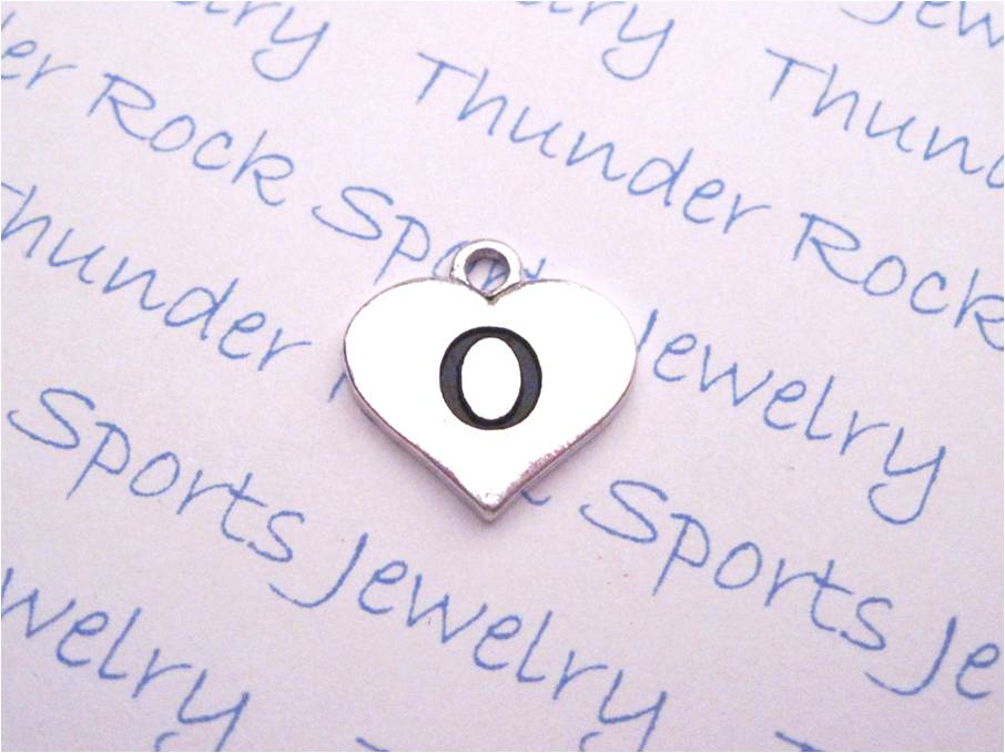 Initial O Alphabet Silver Heart Charm Pendant