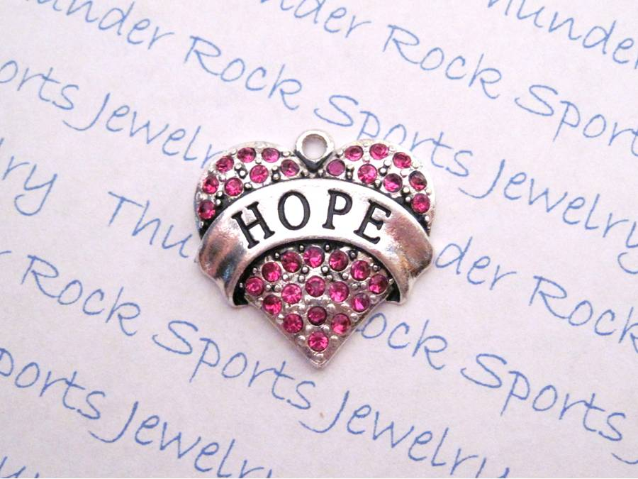 Hope Charm Pink Crystal Silver Heart Pendant