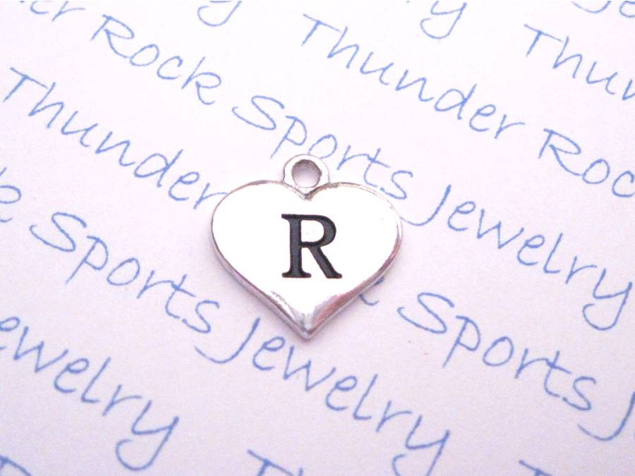 Initial R Alphabet Silver Heart Charm Pendant