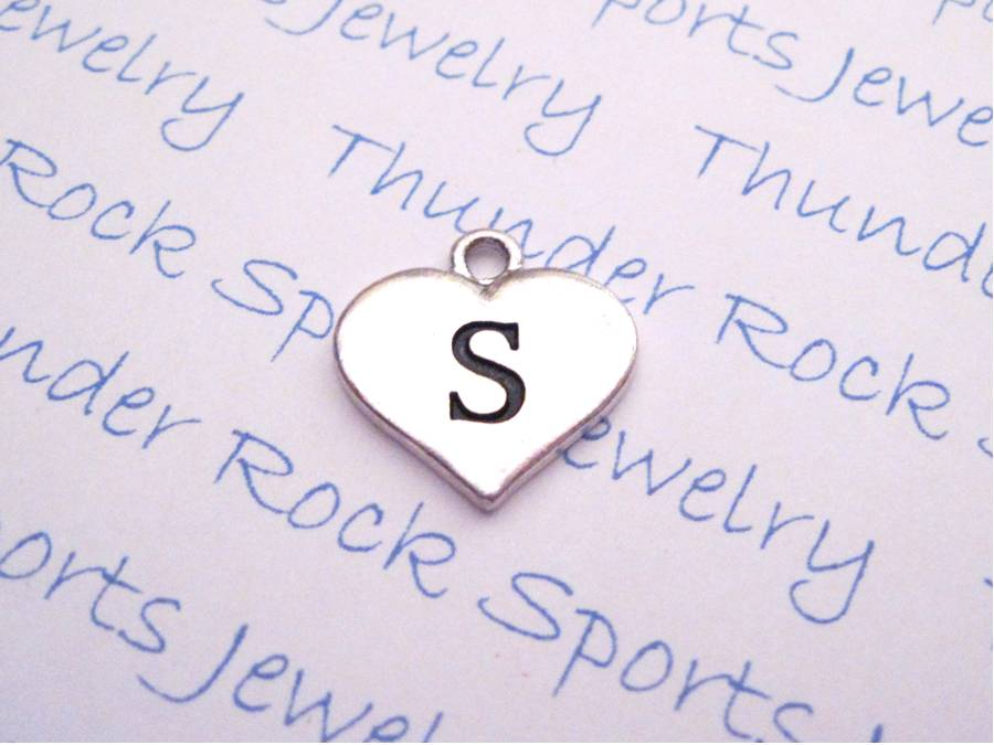 Initial S Alphabet Silver Heart Charm Pendant