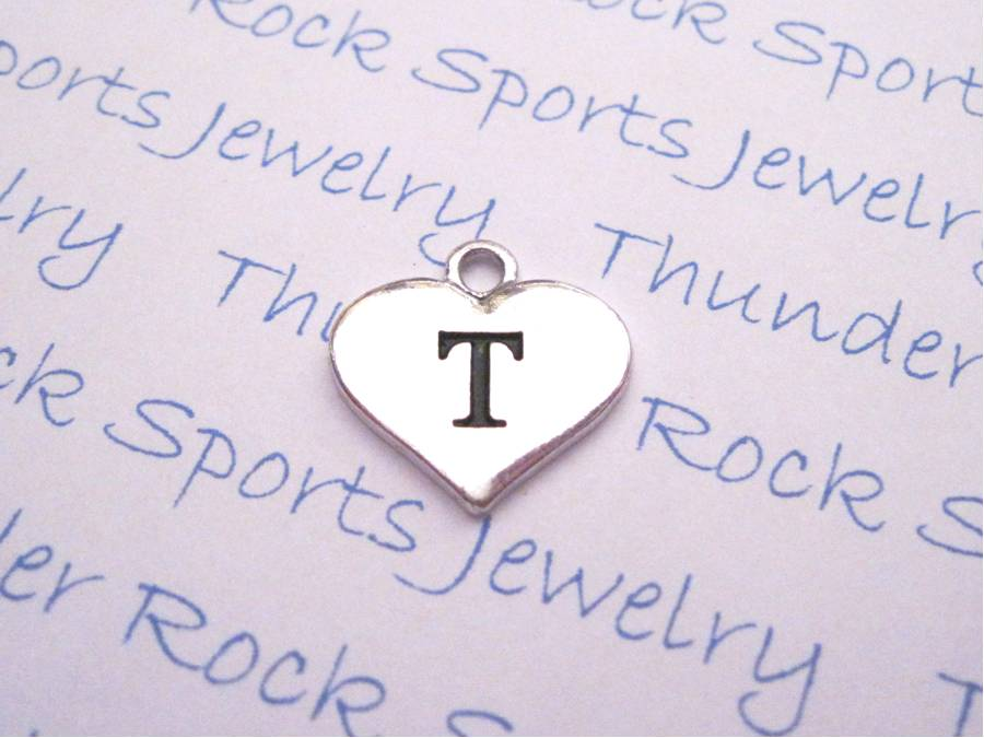 3 Letter T Alphabet Silver Initial Heart Charms