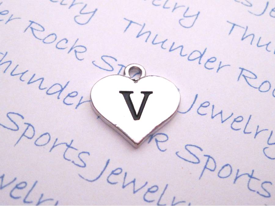 3 Letter V Alphabet Silver Initial Heart Charms
