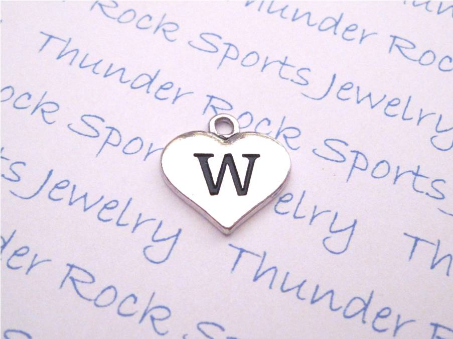 Initial W Alphabet Silver Heart Charm Pendant