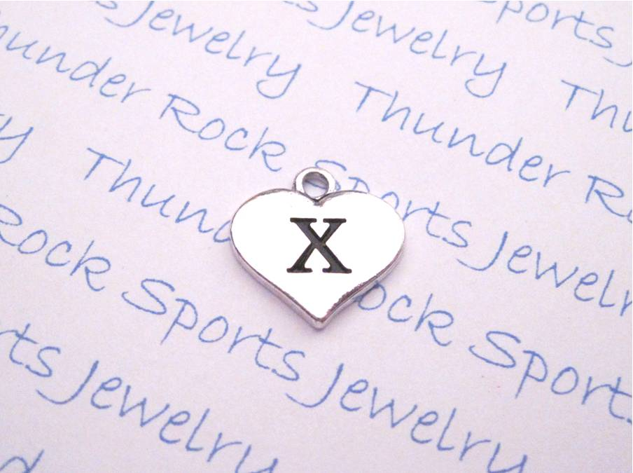 3 Letter X Alphabet Silver Initial Heart Charms