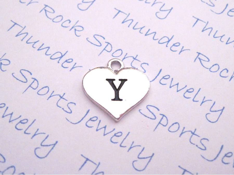 3 Initial Y Alphabet Silver Heart Charms Pendants
