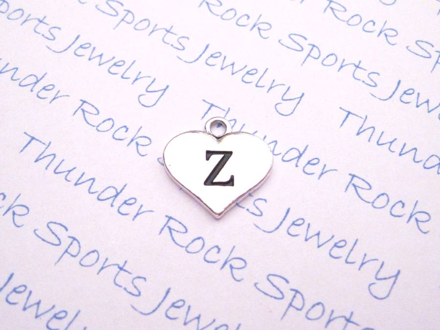 3 Initial Z Alphabet Silver Heart Charms Pendants