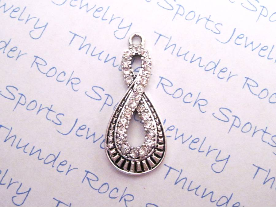 3 Infinity Charms Crystal Silver Pendants