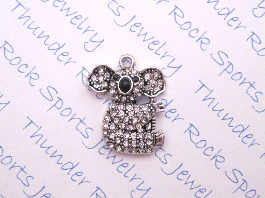 3 Koala Bear Charms Crystal Silver Pendants