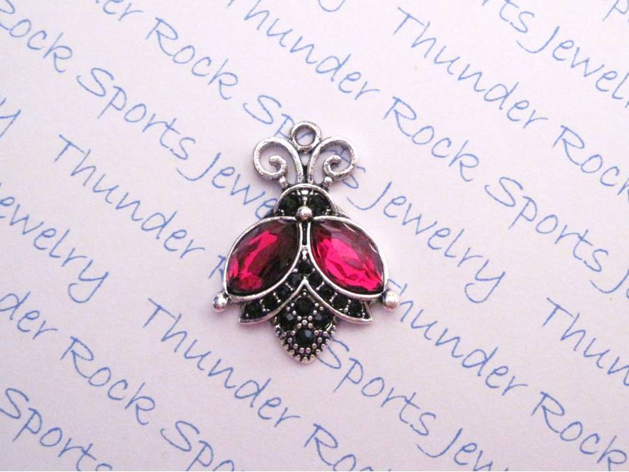 3 Ladybug Charms Red and Black Crystal Silver Pendants
