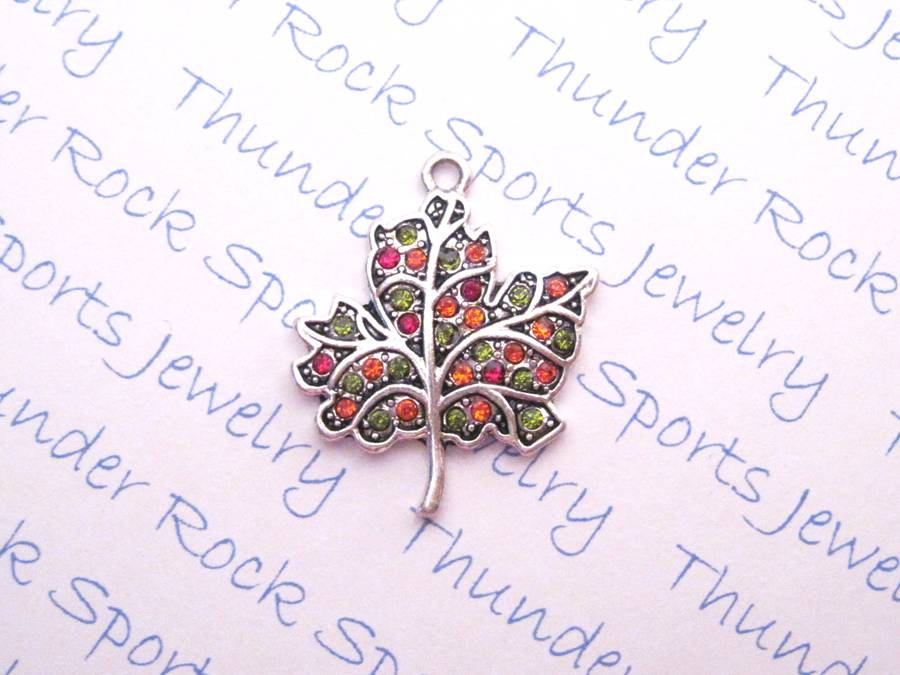 3 Leaf Charms Crystal Silver Pendants