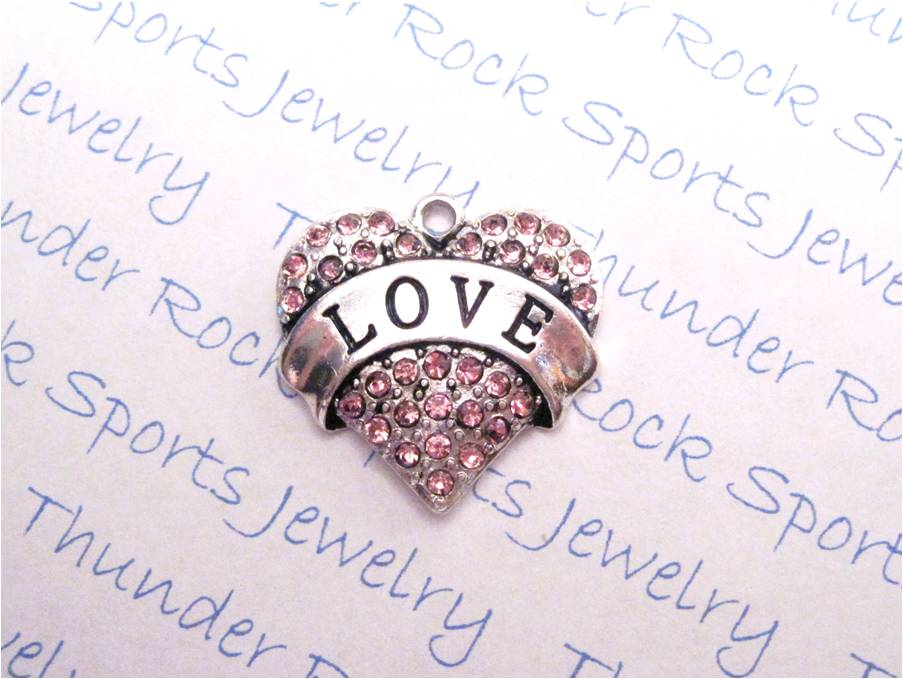 Love Charm Pink Crystal Silver Heart Pendant
