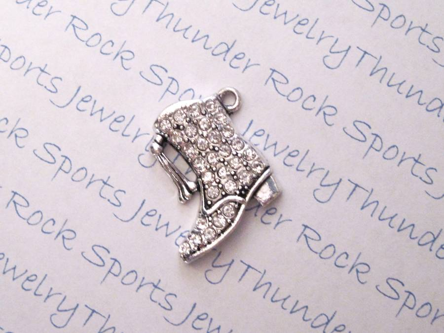 Majorette Boot Charm Crystal Silver Pendant