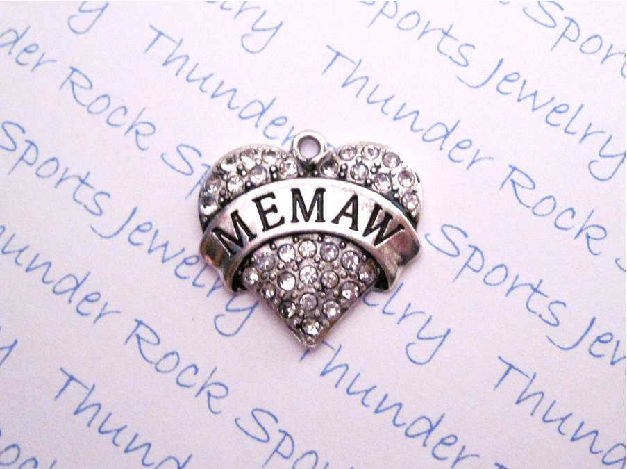 3 Memaw Charms Crystal Silver Heart Pendants