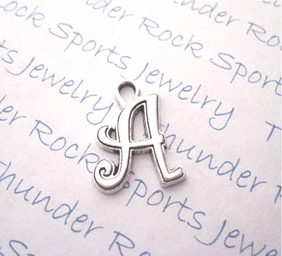 3 Script Letter A Alphabet Initial Silver Charms