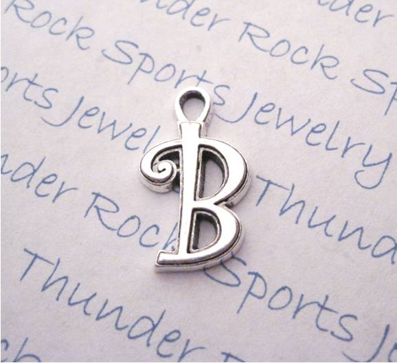 3 Script Letter B Alphabet Initial Silver Charms