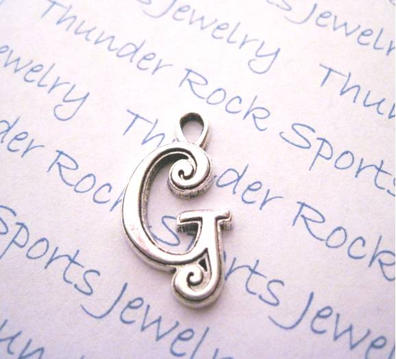 3 Script Letter G Alphabet Initial Silver Charms