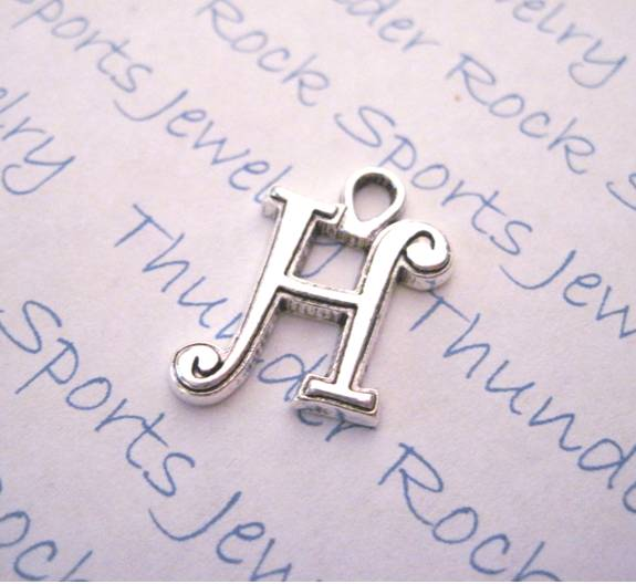 3 Script Letter H Alphabet Initial Silver Charms - Click Image to Close