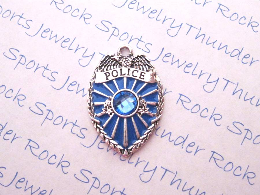 3 Police Badge Charms Blue Crystal Silver Pendants