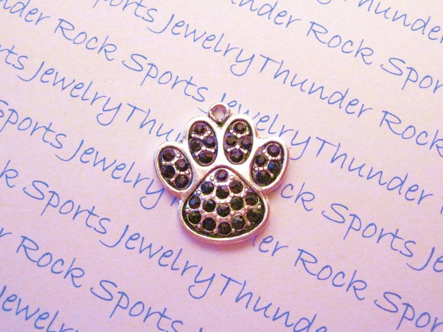 Paw Print Charm Purple Crystal Silver Pendant