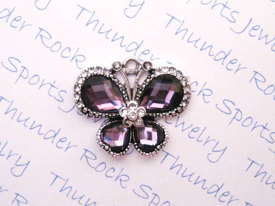 3 Butterfly Charms Purple Crystal Silver Pendants