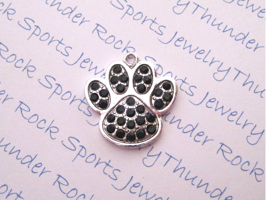 3 Paw Print Charms Black Crystal Silver Pendants