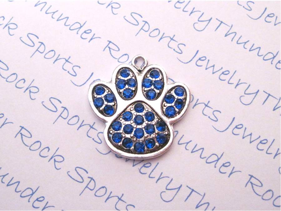 3 Paw Print Charms Blue Crystal Silver Pendants