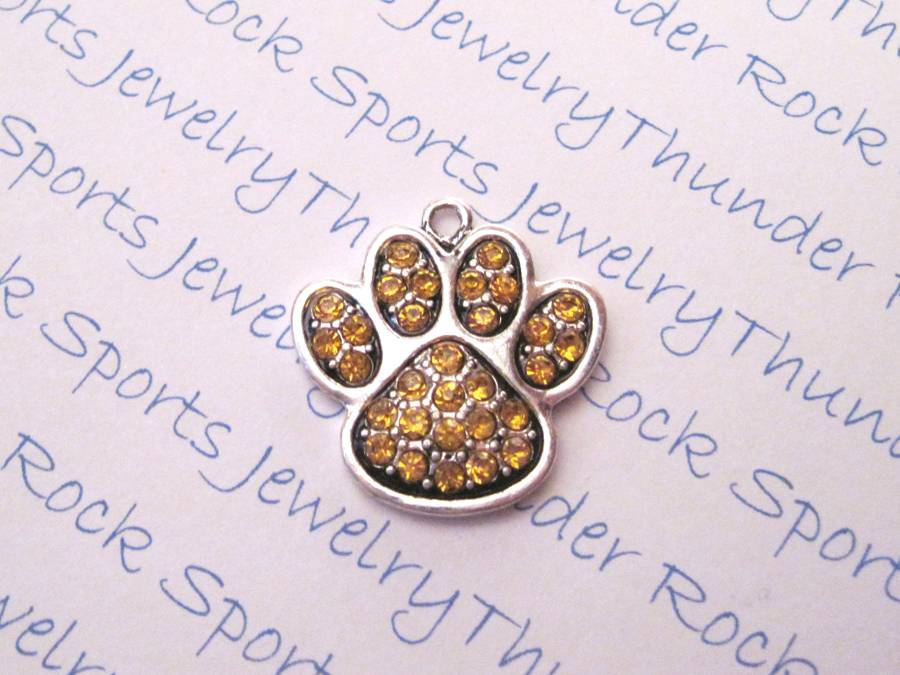 3 Paw Print Charms Yellow Gold Crystal Silver Pendants