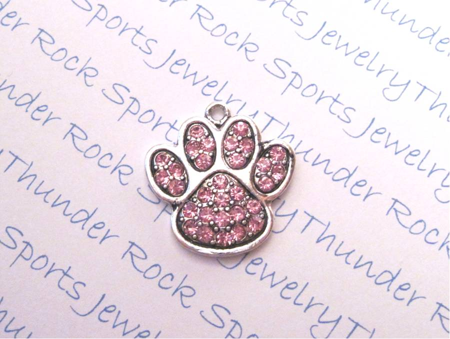 3 Paw Print Charms Pink Crystal Silver Pendants