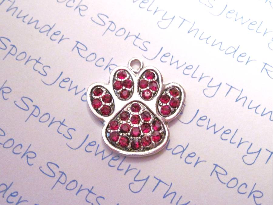 3 Paw Print Charms Red Crystal Silver Pendants