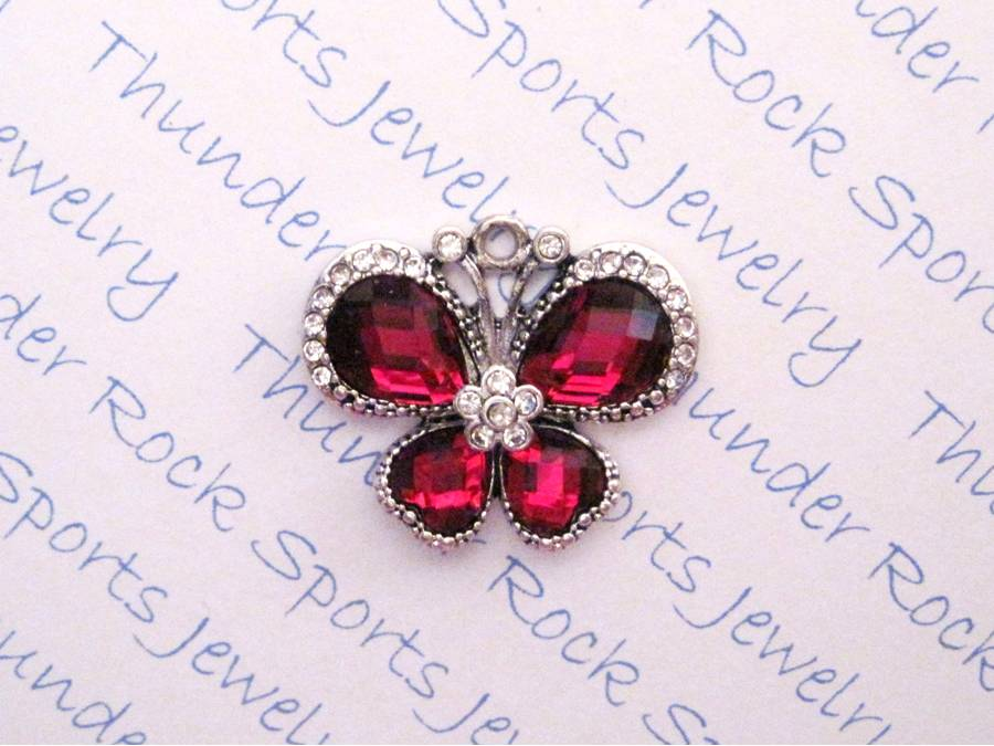 3 Butterfly Charms Red Crystal Silver Pendants