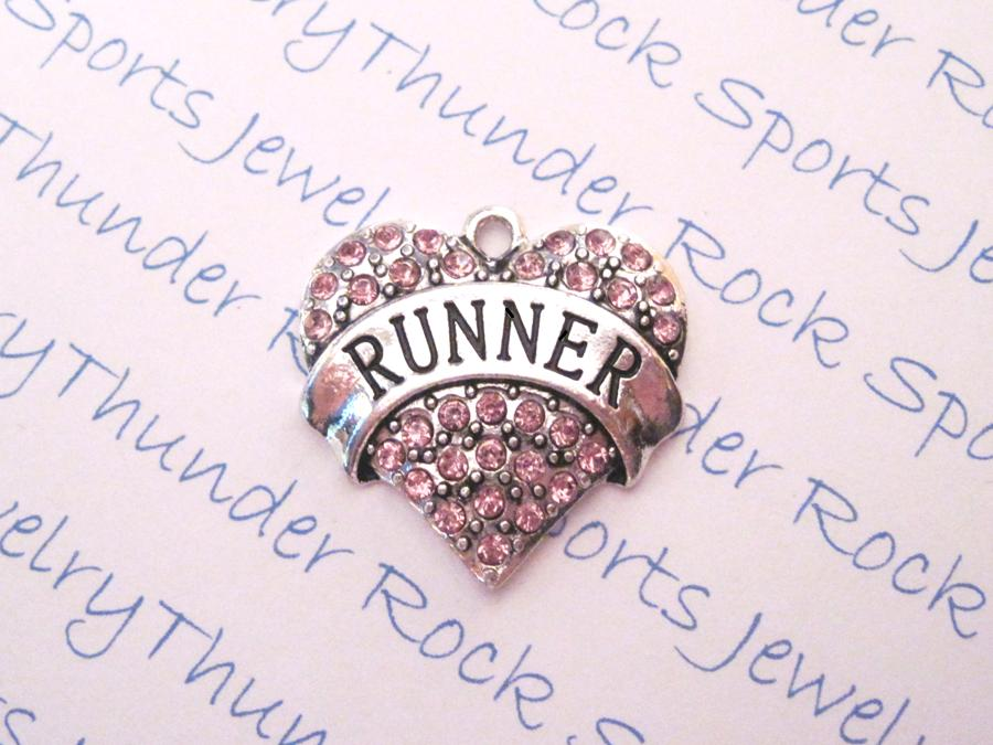3 Runner Charms Pink Crystal Silver Heart Pendants