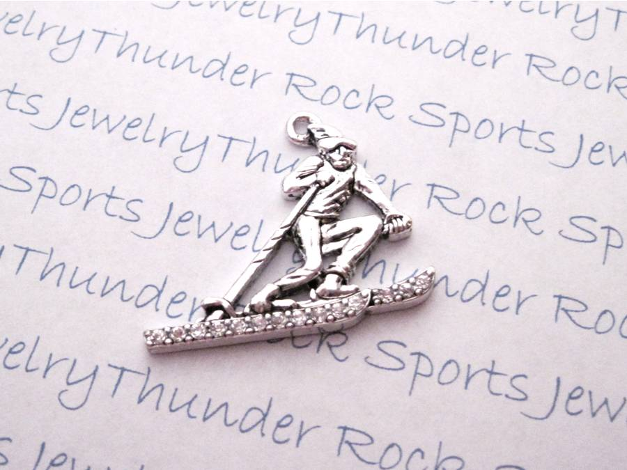 3 Skier Charms Crystal Silver Pendants