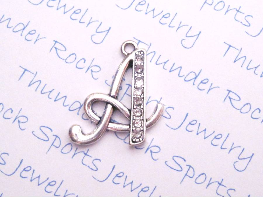 3 Letter A Charms Crystal Alphabet Silver Pendants