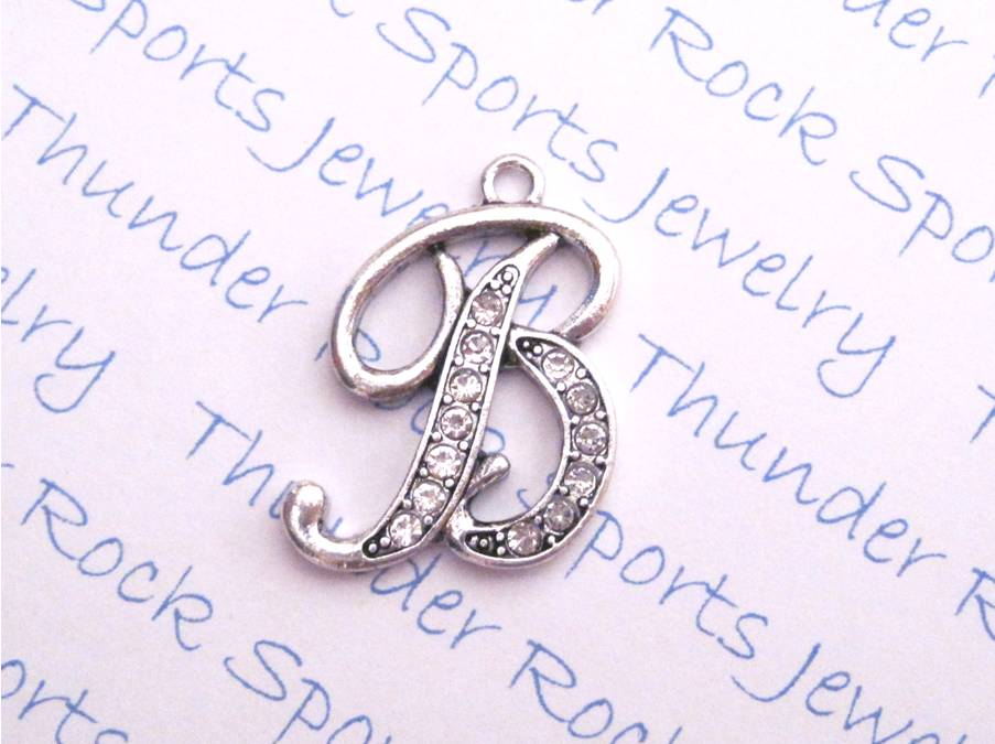 3 Letter B Charms Crystal Alphabet Silver Pendants