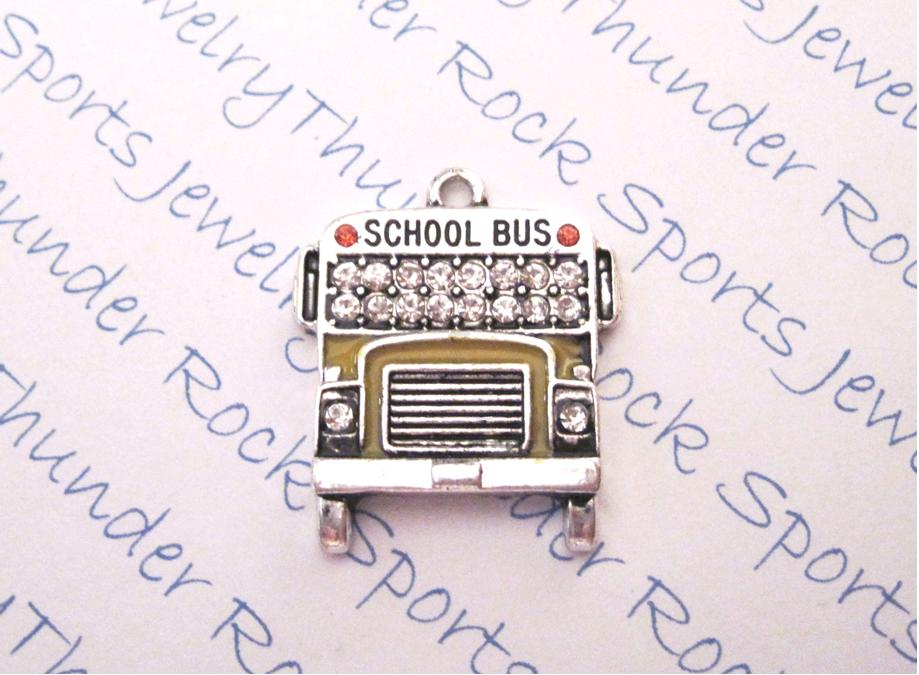 3 School Bus Charms Crystal Silver Pendants