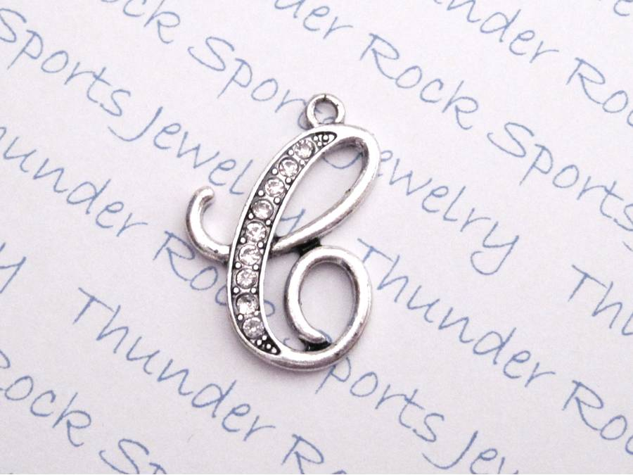 3 Letter C Charms Crystal Alphabet Silver Pendants