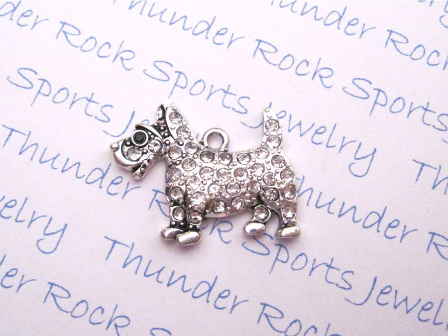 3 Scottish Terrier Charms Crystal Silver Pendants