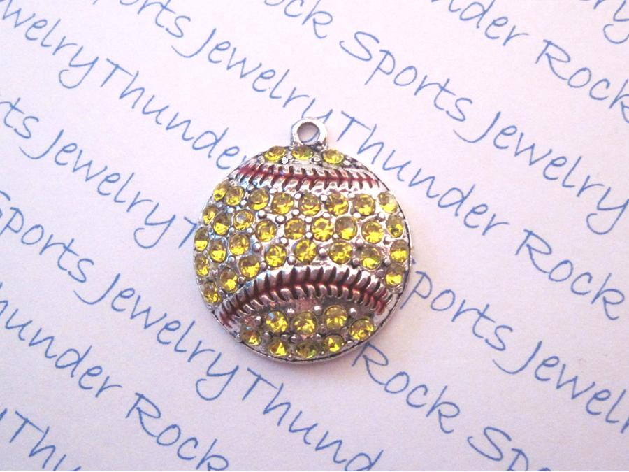 3 Softball Charms Crystal Silver Large Pendants