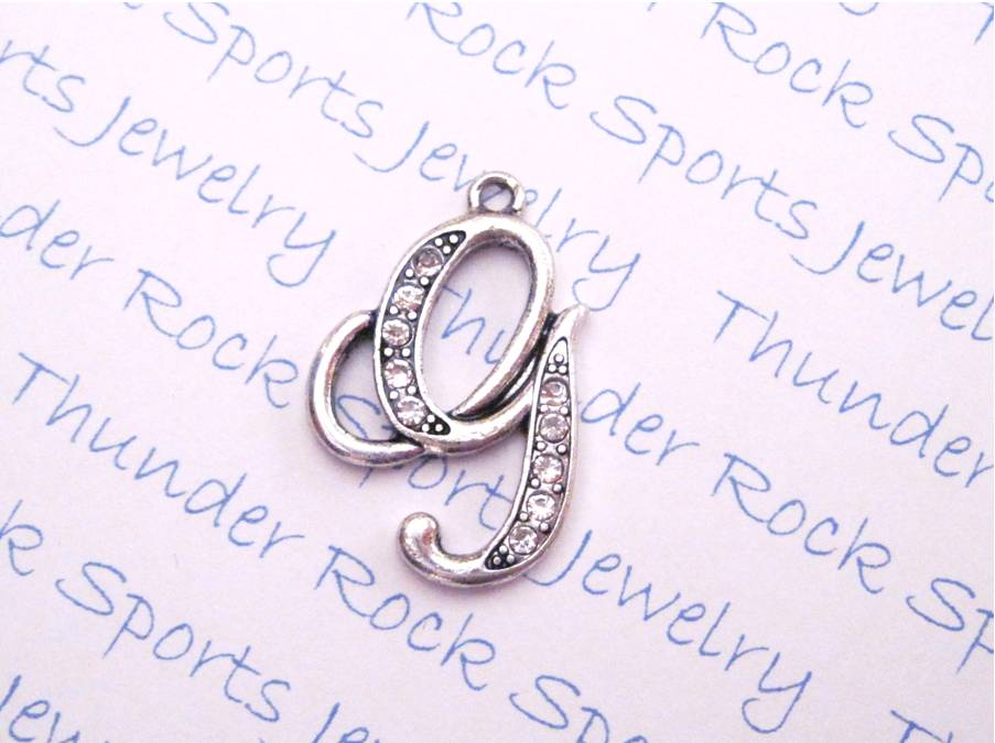 Letter G Charm Crystal Alphabet Silver Pendant
