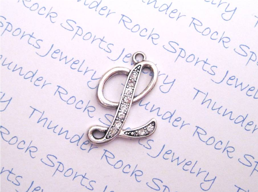 3 Letter L Charms Crystal Alphabet Silver Pendants